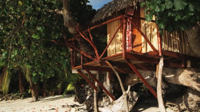 vidéos et rushes de tree house on the beach - île d'huahine