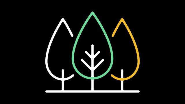 trädplantering linje ikonen animation med alpha - ansvarsfullt företagande bildbanksvideor och videomaterial från bakom kulisserna