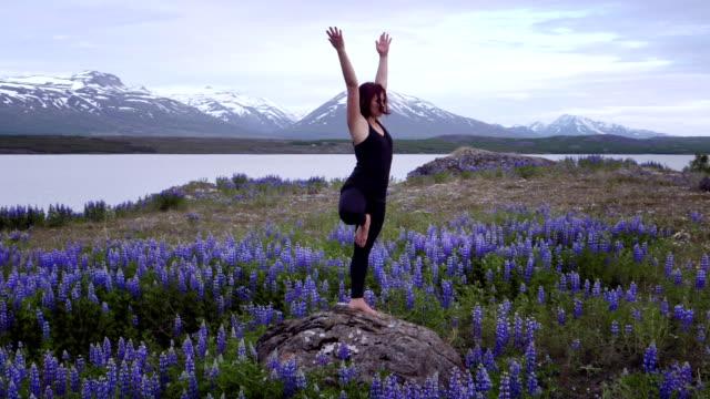 vídeos de stock, filmes e b-roll de pose de árvore em um campo cheio de florescência tremoços - pose de arvore