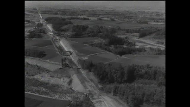 trees and fields line the tokaido shinkansen railway during construction. - shinkansen stock videos & royalty-free footage