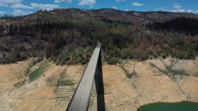 trees burned by the recent bear fire line the steep banks of lake oroville where water levels are low on april 27, 2021 in oroville, california. four... - lake stock videos & royalty-free footage