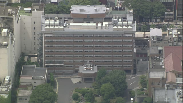 trees grow around the yamanashi prefectural office building and yamanashi prefectural police building in kofu, japan. - 山梨県点の映像素材/bロール