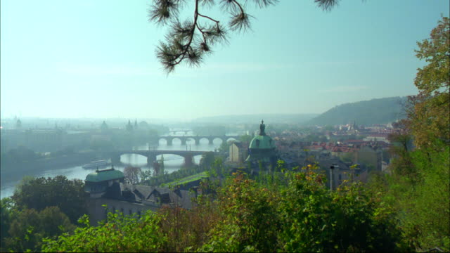 Trees grow on a hill overlooking the Vltava River in Prague.