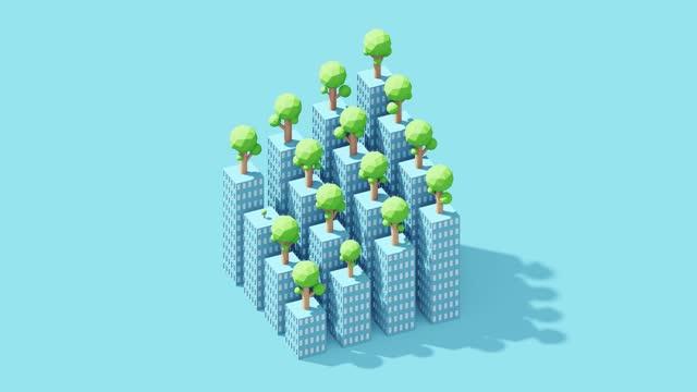 trees growing on rooftops - 投影図点の映像素材/bロール