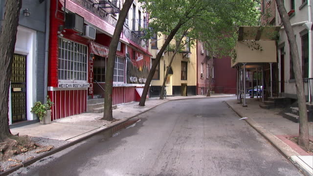 trees lean over a new york city street near a mexican restaurant. - mexican restaurant stock videos & royalty-free footage