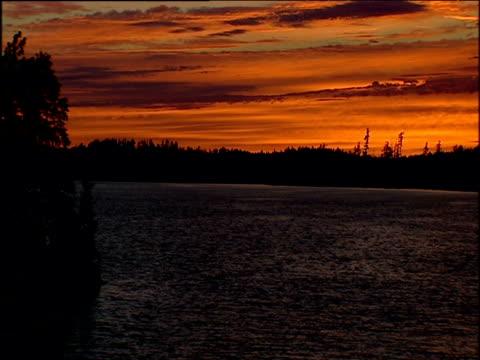 trees silhouetted by orange sunset over lake; minnesota - eskapismus stock-videos und b-roll-filmmaterial