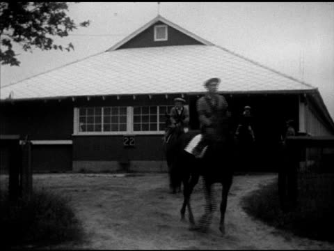 trees vegetation in silhouette morning workout greentree stables exercise riders on thoroughbred racehorses walking out of stable vs owner john... - john hay whitney stock videos and b-roll footage