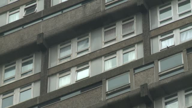 london ext various gvs trellick tower and entrance sign - tower stock videos & royalty-free footage