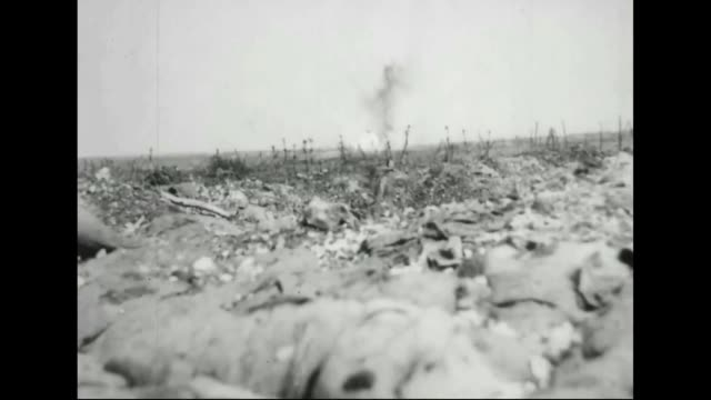trench mortars firing on german barbed wire defenses - barbed wire stock videos & royalty-free footage