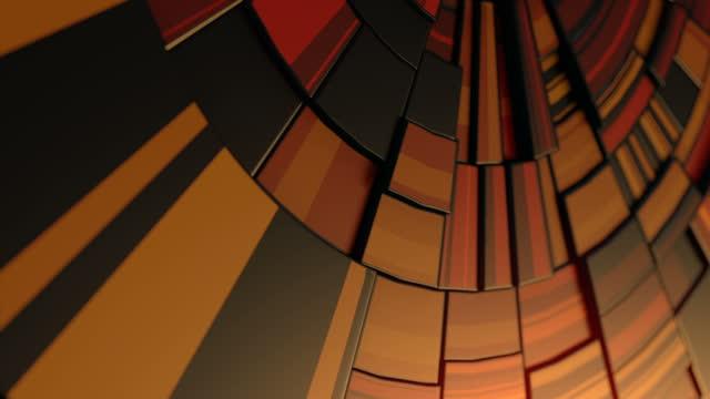 vídeos de stock, filmes e b-roll de design de capa de renderização 3d moderno com movimento mecânico abstrato de padrão geométrico colorido redondo. animação em loop digital sem emenda. resolução hd - gráficos de movimento