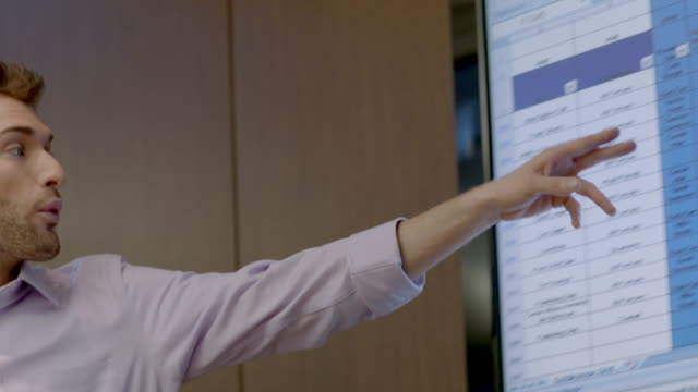 Trendy young businessman leads meeting in corporate boardroom, points out spreadsheet data on big-screen