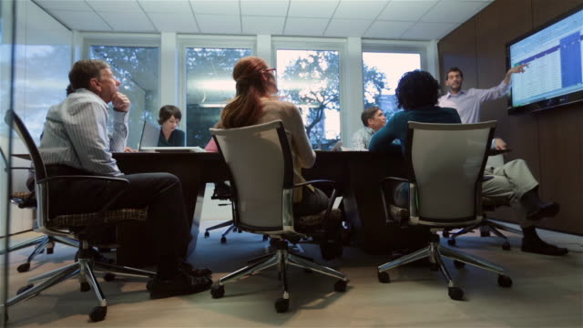 trendy young businessman leads meeting in corporate boardroom (dolly shot) - großunternehmen stock-videos und b-roll-filmmaterial