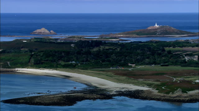 tresco island  - aerial view - england, isles of scilly, united kingdom - isles of scilly stock videos & royalty-free footage
