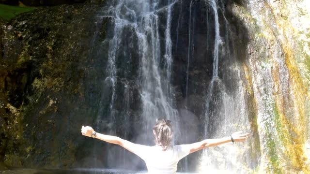 tret waterfall in trentino-alto adige, italy - トレンティーノ点の映像素材/bロール