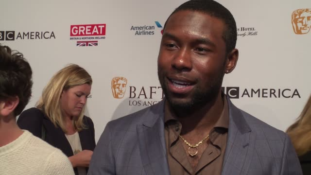 interview trevante rhodes on his first time at the bafta awards tea party on who he's looking forward to seeing on 'moonlight's' nominations on the... - tea party stock videos and b-roll footage