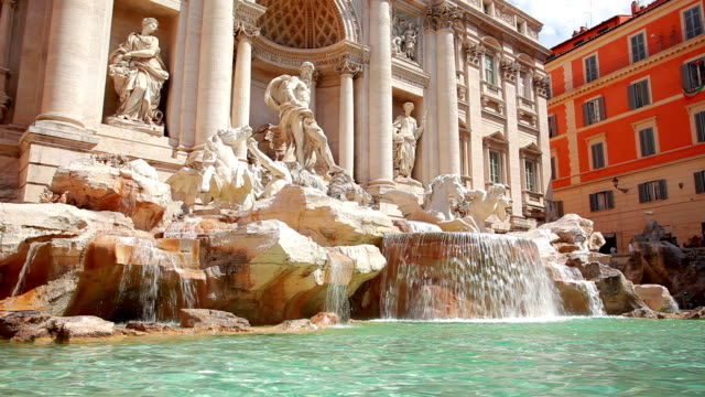 trevi fountain in rome, italy - fountain stock videos and b-roll footage
