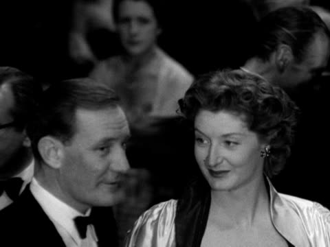 trevor howard helen cherry and jack hawkins talk to one another at the royal command performance of because you're mine 1952 - jack hawkins stock videos and b-roll footage