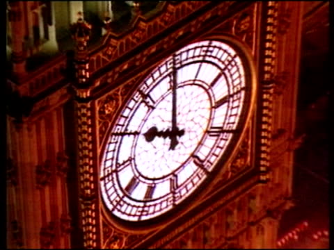 trevor mcdonald reads his final itv news date opening titles of news at ten with big ben showing 2200 hours trevor mcdonald reading headline about... - itv news at ten stock videos & royalty-free footage