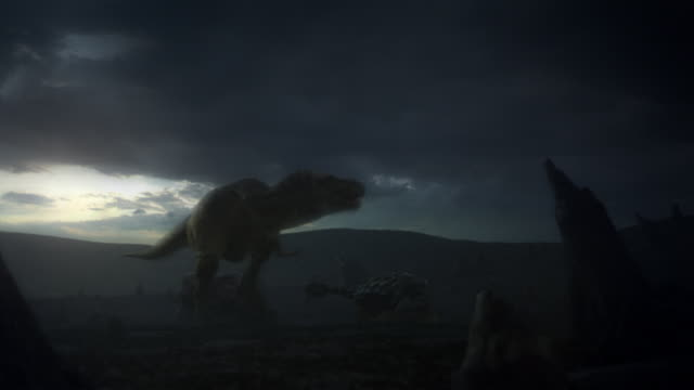 a t-rex attacks a dinosaur with a turtle-like shell, then trips and falls, impaling itself with another dinosaur's horn in a computer generated animation. - dinosaur stock videos and b-roll footage