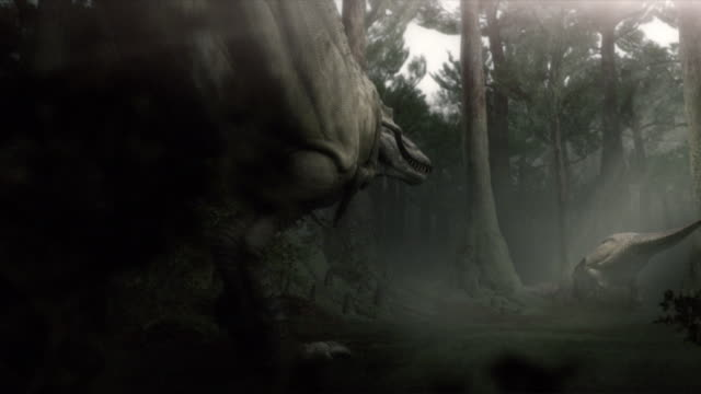 A T-Rex runs through a forest, eats a small animal, and prepares to fight with another dinosaur in a computer generated animation.