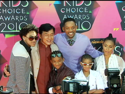 trey smith, jackie chan, jaden smith, will smith, willow smith and jada pinkett smith at the nickelodeon's 23rd annual kids' choice awards - arrivals... - nickelodeon stock videos & royalty-free footage