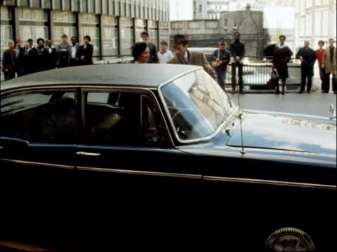 trial of jeremy thorpe for attempted murder of norman scott scott gives evidence england london old bailey ext jeremy thorpe and wife out from car... - オールドベイリー点の映像素材/bロール