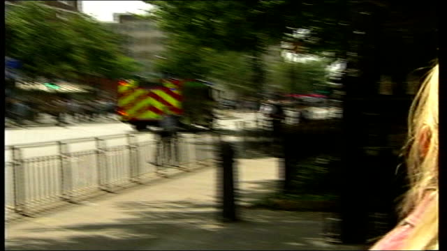 trial of men accused of attempted bombings on 21st july 2005 file / tx ext fire engine fast along road in response to further suspected terrorist... - bethnal green stock videos & royalty-free footage