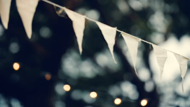 triangular flags sway in the wind - wedding stock videos & royalty-free footage