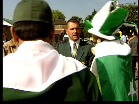 australia vs pakistan itn england london lords group of pakistan cricket fans waving hands as arriving at ground gv fans towards as arriving at... - lords cricket ground stock videos and b-roll footage