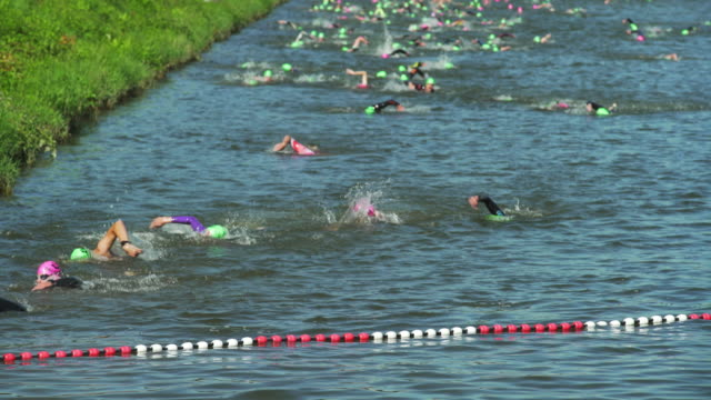 triathlete swimmers arriving at the finish line - triathlete stock videos and b-roll footage
