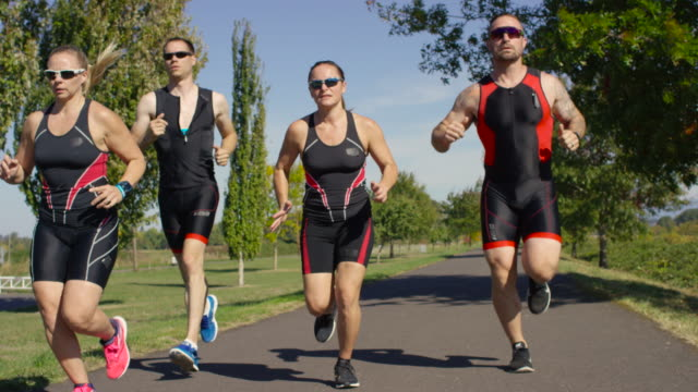 Triathletes training for a triathlon