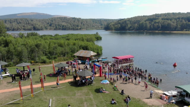 triathlon race from above - medallist stock videos & royalty-free footage