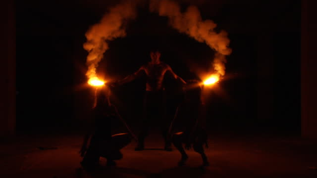 tribe fire silhouette - circus stock videos & royalty-free footage