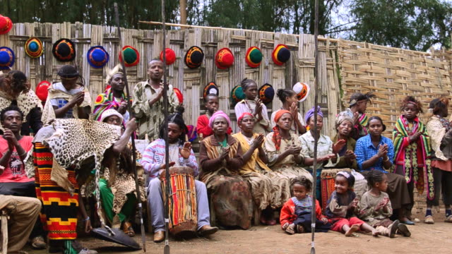 MS Tribe village traditional singing tribal songs with colorful costumes / Arba Minch Chencha, Ethiopia