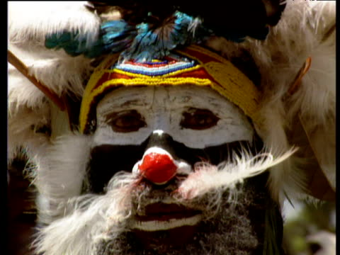 Tribesman's face painted with white and black face paint including red nose and big moustache made from feathers Papua New Guinea