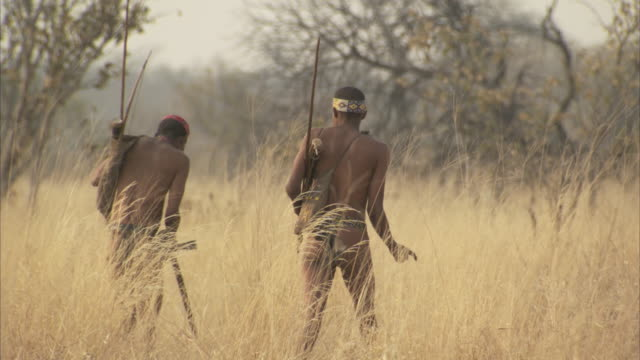 tribesmen hunt through tall grass in africa. - hunter stock videos & royalty-free footage