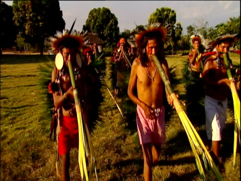vídeos de stock e filmes b-roll de tribesmen wearing umahara headdresses and playing hand made instruments perform ritual dance amazon rainforest brazil - cultura indígena