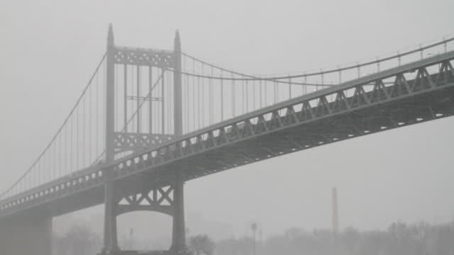 MS TU TD Triborough Bridge (Robert F. Kennedy Bridge) and East River in snow / New York City, New York, USA