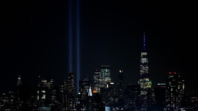 vidéos et rushes de hommage dans lights skyline - mémorial