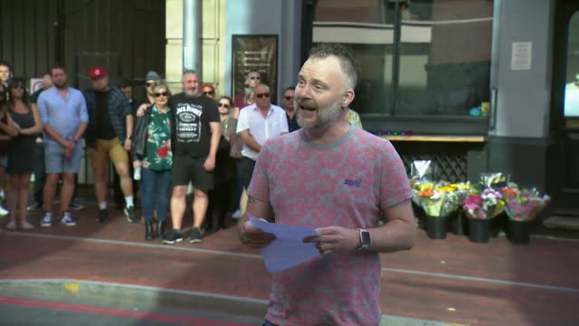 tribute outside the blagrave arms pub in reading for james furlong, joe ritchie-bennett and david wails who died in reading terror attack, jamie wake... - crime and murder stock videos & royalty-free footage