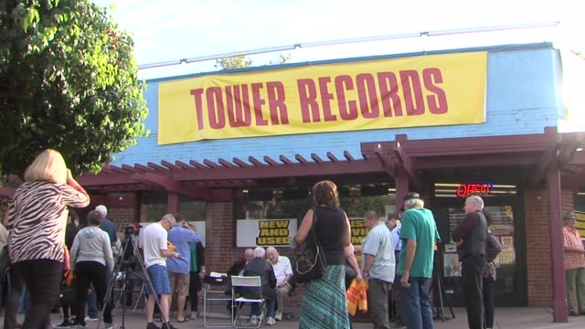 tribute to tower records in sacramento in honor of a documentary based on the retail music chain. - tower records stock videos & royalty-free footage