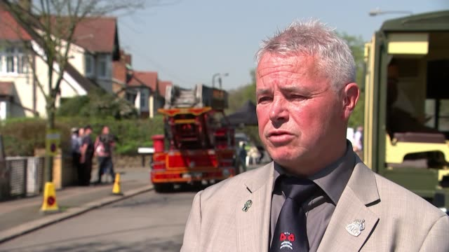 Tribute to World War II fire watchers unveiled in Walthamstow ENGLAND London Walthamstow EXT Neil Pearce interview SOT/ Various of Firefighters and...