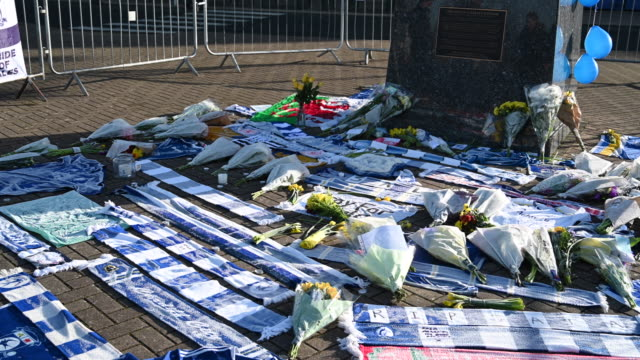 Tributes are left to new Cardiff City FC signing Emiliano Sala near the Fred Keenor statue at the Cardiff City Stadium on January 23 2019 in Cardiff...