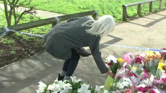 tributes left to jodie chesney following fatal stabbing england greater london romford harold hill ext woman laying floral tribute at makeshift... - 仮設追悼施設点の映像素材/bロール