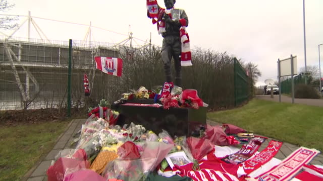 Tributes to Gordon Banks at his statue outside Stoke City's bet365 Stadium including Stoke and England goalkeeper Jack Butland