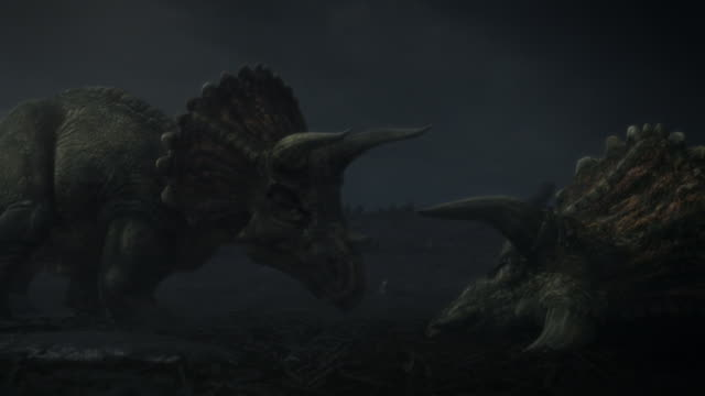 triceratops amble along a blasted plain and investigate a triceratops carcass in a computer generated animation. - triceratops stock videos and b-roll footage