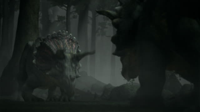 triceratops battle in a prehistoric forest in a computer generated animation. - triceratops stock videos and b-roll footage
