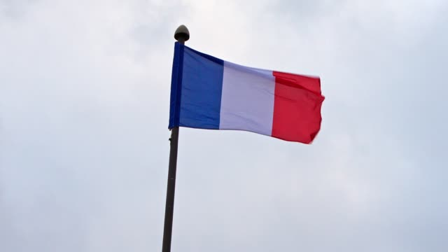tricolor french flag waving in the wind - french flag stock videos & royalty-free footage