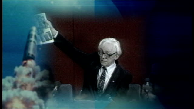 trident nuclear programme vote date michael foot holding up manifesto pledge of unilateral nuclear disarmament - disarmament stock videos and b-roll footage