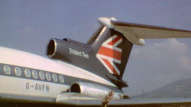 trident two british airways plane number gavfn / boarding plane / trident two british airways on march 30 1974 in athens greece - air vehicle stock videos & royalty-free footage